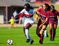 Georgia Bulldogs vs Arkansas Razorback Women's Soccer -   Georgia Cecily Stoute (24) brings ball down field as Kaelee Van Gundy (27)<br />
