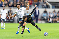 LOS ANGELES, CA - MARCH 08: Jose Martinez #8 of Philadelphia Union and Diego Rossi #9 of LAFC vie for the ball during a game between Philadelphia Union and Los Angeles FC at Banc of California Stadium on March 08, 2020 in Los Angeles, California.
