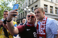 Seattle, WA - Thursday June 16, 2016: United States fans march to the stadium prior to a Copa America Centenario quarterfinal match between United States (USA) and Ecuador (ECU) at CenturyLink Field.
