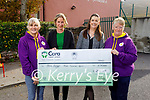 Derryquay NS presenting Ann Eager with a cheque worth €200 from their recent NO Uniform Day for her fundraising cycle. L to r: Breda Quirke, Brid Ni Gearalth, Ídé Brosnan (Principal) and Ann Eager.