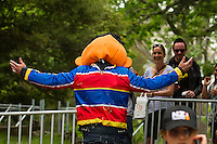 BERT & ERNIE'S SESAME'S TREAT: Team Members:Lucie Campbell - Team Captain; Evan King - Pilot; Travis Jenks - Co -Pilot; David Millen - Pit Crew; Ross Thacker - Pit Crew; Mark Robinson - Pit Crew; Clinton Scarfe - Pit Crew; Derrick Moore - General Dogsbody; Mitch Hudson - Muppet extraordinaire and Team Mascot: 2013 NZL-Red Bull Trolly Grand Prix: Auckland Domaine (Saunday 10 November) CREDIT: Libby Law COPYRIGHT: LIBBY LAW PHOTOGRAPHY - NZL