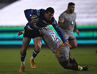 8th January 2021; Recreation Ground, Bath, Somerset, England; English Premiership Rugby, Bath versus Wasps; Ben Spencer of Bath is tackled by Paolo Odogwu of Wasps