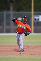 Miami Marlins Marcos Rivera (17) during a Minor League Spring Training Intrasquad game on March 27, 2018 at the Roger Dean Stadium Complex in Jupiter, Florida.  (Mike Janes/Four Seam Images)