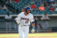Tennessee Smokies catcher Tim Susnara (25) hustles to first base against the Rocket City Trash Pandas at Smokies Stadium on July 2, 2021, in Kodak, Tennessee. (Danny Parker/Four Seam Images)