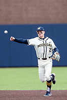 Michigan Wolverines shortstop Jack Blomgren (2) makes a throw to first base against the Indiana State Sycamores on April 10, 2019 in the NCAA baseball game at Ray Fisher Stadium in Ann Arbor, Michigan. Michigan defeated Indiana State 6-4. (Andrew Woolley/Four Seam Images)