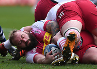 27th March 2021; Ashton Gate Stadium, Bristol, England; Premiership Rugby Union, Bristol Bears versus Harlequins; Joe Marler of Harlequins places the ball back in a ruck