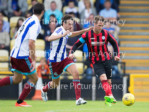 St Johnstone v Real Sociadad...12.07.15  Bayview, Methil (Home of East Fife FC)<br /> Chris Millar back aftert injury with Ruben Pardo<br /> Picture by Graeme Hart.<br /> Copyright Perthshire Picture Agency<br /> Tel: 01738 623350  Mobile: 07990 594431