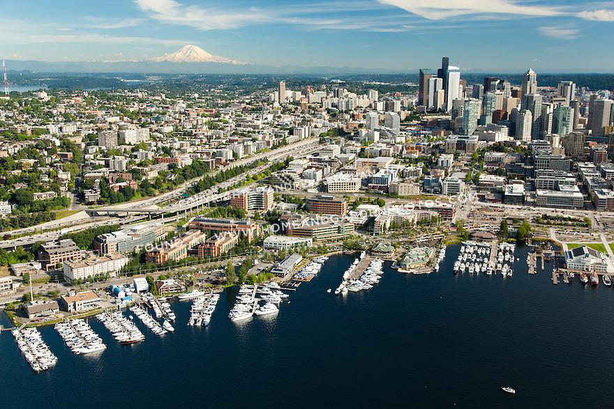 downtown Seattle skyline and South Lake Union neighborhood with Mount Rainier behind; Seattle, WA
