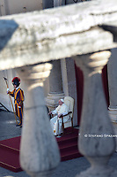 Pope Francis during of a weekly general audience  in the San Damaso's courtyard in Vatican, Wednesday.September 16, 2020<br /> (Photo by Stefano Spaziani)