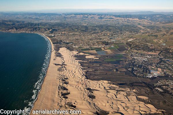 aerial photograph of dunes toward Arroyo Grande and Oceano, San Luis Obispo County, California