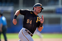 Pittsburgh Pirates Hunter Owen (94) running the bases during a Major League Spring Training game against the Toronto Blue Jays on March 1, 2021 at TD Ballpark in Dunedin, Florida.  (Mike Janes/Four Seam Images)