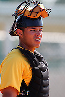 Pittsburgh Pirates catcher Elevys Gonzalez #62 during practice before an Instructional League game against the Atlanta Braves at Pirate City on October 14, 2011 in Bradenton, Florida.  (Mike Janes/Four Seam Images)