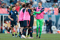 DENVER, CO - JUNE 3: Jordan Siebatcheu #16 of the United States and team mates celebrate during a game between Honduras and USMNT at EMPOWER FIELD AT MILE HIGH on June 3, 2021 in Denver, Colorado.