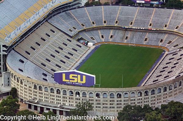 aerial photograph of Louisiana State University, Tiger Stadium, Baton Rouge, Louisiana