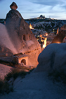 Goreme village with Uchisar at the top of the photo, Cappadocia, Turkey