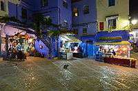 Chefchaouen, Morocco.  Neighborhood Sundries and Souvenir Shops in the Medina at Night.