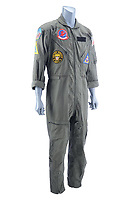 BNPS.co.uk (01202) 558833. <br /> Pic: PropStore/BNPS<br /> <br /> Pictured: This flight suit used in the making of Top Gun is expected to fetch over £4,000. <br /> <br /> Costume props and behind-the-scenes photos from the classic Tom Cruise movie Top Gun are coming up for sale.<br /> <br /> The archive includes the white vest worn by Goose, the partner of Tom Cruise's character Pete 'Maverick' Mitchell, during the famous beach volleyball scene. <br /> <br /> There is also the flight suit worn by Maverick's Top Gun rival, Tom 'Iceman' Kazansky, played by Val Kilmer in the 1986 film.