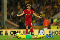 21st September 2021; Carrow Road, Norwich, England; EFL Cup Footballl Norwich City versus Liverpool; Kostas Tsimikas of Liverpool reacts as he is judged to have fouled Pierre Lees-Melou of Norwich City