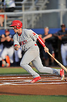 Left fielder Shane Billings (16) of the Johnson City Cardinals bats in a game against the Danville Braves on Friday, July 1, 2016, at Legion Field at Dan Daniel Memorial Park in Danville, Virginia. Johnson City won, 1-0. (Tom Priddy/Four Seam Images)