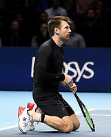 Alexander Peya in action against Raven Klaasen and Michael Venus with his partner Nikola Mektic<br /> <br /> Photographer Hannah Fountain/CameraSport<br /> <br /> International Tennis - Nitto ATP World Tour Finals Day 3 - O2 Arena - London - Tuesday 13th November 2018<br /> <br /> World Copyright © 2018 CameraSport. All rights reserved. 43 Linden Ave. Countesthorpe. Leicester. England. LE8 5PG - Tel: +44 (0) 116 277 4147 - admin@camerasport.com - www.camerasport.com