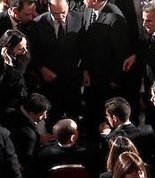 Il leader del Popolo della Liberta' Silvio Berlusconi si siede al termine dell'incontro con i candidati alle prossime elezioni politiche, a Roma, 25 gennaio 2013. L'ufficio stampa dell'ex presidente del consiglio ha smentito che lo stesso avrebbe avuto un malore al termine del suo discorso..Italian People of Freedom center-right party's leader Silvio Berlusconi, bottom center, sits at the end of a meeting with candidates ahead of the upcoming political elections, in Rome, 25 January 2013. Former Premier's press office denied he was taken ill all of a sudden after his speech..UPDATE IMAGES PRESS/Riccardo De Luca