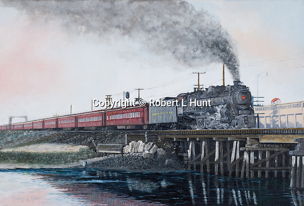 """A Pennsylvania Railroad K4 steam locomotive pulling a passenger train full of tourists on a run to the New Jersey shore beaches, circa 1949. Oil on canvas, 11"""" x 16""""."""