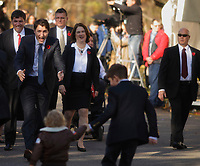 Justin Trudeau,  Prime Minister-designate and members of the 29th Canadian ministry greet his children, on the grounds of Rideau Hall in Ottawa, Ontario, on Wednesday, November 4, 2015.<br /> <br /> PHOTO : Pierre Roussel<br /> - Agence Quebec Presse