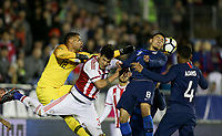 Cary, N.C. - Tuesday March 27, 2018: Alfredo Aguilar, Marco Delgado during an International friendly game between the men's national teams of the United States (USA) and Paraguay (PAR) at Sahlen's Stadium at WakeMed Soccer Park.