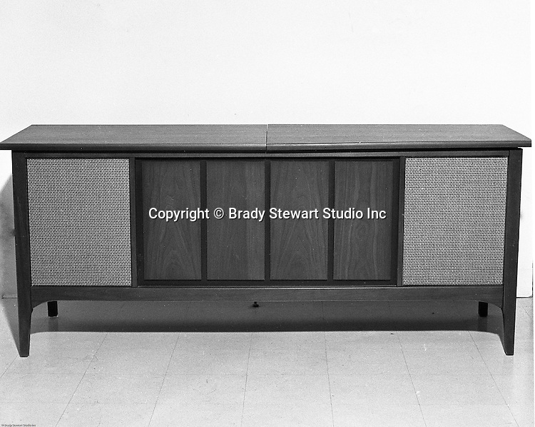 Client: Westinghouse<br /> Ad Agency: Pittsburgh Press Advertising Department<br /> Product: Westinghouse Televisions<br /> Contact: Mr. James Murray Pittsburgh Press Ad Dept.<br /> Location: Westinghouse Showcase<br /> <br /> Westinghouse Entertainment Center with Record Player, Radio, and Color Television. On location photography at the Westinghouse Showcase.