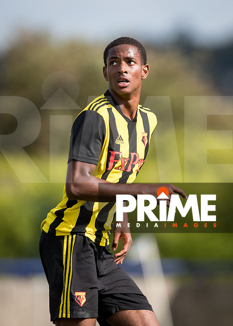 Joy Mukena of Watford during the Professonal Development League match between Watford U23 and Sheffield United U23 at The Maurice Rebak Stadium, Summers Lane, England on 17 August 2018. Photo by Andy Rowland.