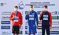 100m Butterfly Men<br /> Podium<br /> MILADINOV Josif BUL Bulgaria Gold Medal<br /> RIBEIRO Diogo Matos POR Portugal Silver Medal<br /> MILDRED Edward GBR Greit Britain Bronze Medal<br /> LEN European Junior Swimming Championships 2021<br /> Rome 2179<br /> Stadio Del Nuoto Foro Italico <br /> Photo Andrea Masini / Deepbluemedia / Insidefoto