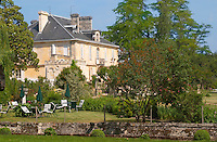 The garden with garden furniture for pick nick picnic and chateau main building at Kirwan Chateau Kirwan, Cantenac Margaux Medoc Bordeaux Gironde Aquitaine France