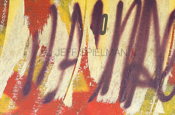 AVAILABLE FROM JEFF FOR LICENSING.<br /> <br /> Graffiti Spray Painted on a Wall, Lower East Side, New York City, New York State, USA