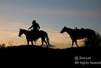 cowboy leading horse at sunset Cowboys working and playing. Cowboy Cowboy Photo Cowboy, Cowboy and Cowgirl photographs of western ranches working with horses and cattle by western cowboy photographer Jess Lee. Photographing ranches big and small in Wyoming,Montana,Idaho,Oregon,Colorado,Nevada,Arizona,Utah,New Mexico. Fine Art Limited Edition Photography Of American Cowboys and Cowgirls by Jess Lee