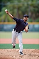 GCL Yankees East starting pitcher Yoendrys Gomez (15) delivers a pitch during the first game of a doubleheader against the GCL Pirates on July 31, 2018 at Pirate City Complex in Bradenton, Florida.  GCL Yankees East defeated GCL Pirates 2-0.  (Mike Janes/Four Seam Images)