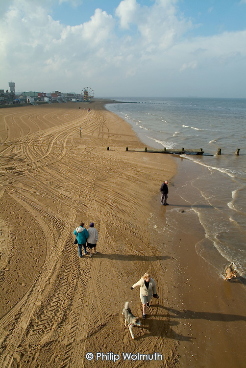 Beach at the seaside holiday resort of Cleethorpes, on the outskirts of the declining fishing port of Grimsby.