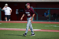Bellarmine Knights head coach Larry Owens (24) walks out to the mound during the game against the Liberty Flames at Liberty Baseball Stadium on March 9, 2021 in Lynchburg, VA. (Brian Westerholt/Four Seam Images)