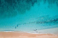 Aerial view of Mokule'ia Beach, North Shore of O'ahu.