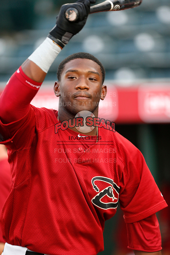 Justin Williams #19 of the AZL Diamondbacks before a game against the AZL Angels at Tempe Diablo Stadium on July 14, 2013 in Goodyear, Arizona. AZL Angels defeated the AZL Diamondbacks, 5-3. (Larry Goren/Four Seam Images)