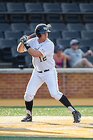 Joe Napolitano (12) of the Wake Forest Demon Deacons at bat against the High Point Panthers at Wake Forest Baseball Park on April 2, 2014 in Winston-Salem, North Carolina.  The Demon Deacons defeated the Panthers 10-6.  (Brian Westerholt/Four Seam Images)