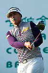 TAOYUAN, TAIWAN - OCTOBER 22: Amy Yang of South Korea tees off on the 15th hole during day three of the LPGA Imperial Springs Taiwan Championship at Sunrise Golf Course on October 22, 2011 in Taoyuan, Taiwan. Photo by Victor Fraile / The Power of Sport Images