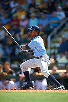 Tampa Bay Rays center fielder Mallex Smith (0) follows through on a swing during a Spring Training game against the Pittsburgh Pirates on March 10, 2017 at LECOM Park in Bradenton, Florida.  Pittsburgh defeated New York 4-1.  (Mike Janes/Four Seam Images)