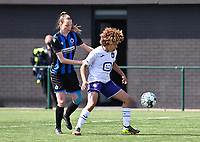 Nicky Van Den Abbeele (28) of Club Brugge pictured defending on Kassandra Missipo (12) of Anderlecht during a female soccer game between Club Brugge Dames YLA and RSC Anderlecht on the fourth matchday in Play-Off 1 of the 2020 - 2021 season of Belgian Scooore Womens Super League , saturday 1st May 2021  in Brugge , Belgium . PHOTO SPORTPIX.BE | SPP | DAVID CATRY