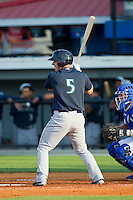 Joseph DeCarlo (5) of the Pulaski Mariners at bat against the Burlington Royals at Burlington Athletic Park on June20 2013 in Burlington, North Carolina.  The Royals defeated the Mariners 2-1 in 13 innings.  (Brian Westerholt/Four Seam Images)