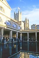 Bath: Roman Baths and in background, Abbey Church.
