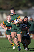 Jared Page breaks past Daniel Hudson on his way to the tryline. Counties Manukau Premier Club Rugby game between Pukekohe and Manurewa, played at Colin Lawrie Fields, Pukekohe, on Saturday May 28th, 2016. Pukekohe won the game 62 - 18 after leading 19 - 10 at halftime. Photo by Richard Spranger.