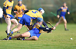 Mike Mc Inerney of  Newmarket  in action against Aidan Quiligan of  Sixmilebridge during their Clare Champion Cup final at Clonlara. Photograph by John Kelly.