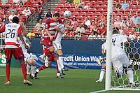 FC Dallas forward Kenny Cooper (33) gets a  shot on net with a header. Real Salt Lake vs FC Dallas at Pizza Hut Park Frisco, Texas May-24-2008 Final Score 1-2