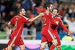 Spain's Koke Resurrecccion (l), Isco and Jordi Alba celebrates goal during 15th UEFA European Championship Qualifying Round match. November 15,2014.(ALTERPHOTOS/Acero)