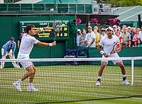 London, England, 4 th. July, 2018, Tennis,  Wimbledon, Men's doubles: Jean-Julian Rojer (NED) and Aisam-Ul-Hag Quershi (PAK) (R)<br /> Photo: Henk Koster/tennisimages.com